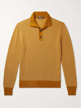 Loro Piana Slim-Fit Suede-Trimmed Baby Cashmere Half-Placket Sweater - Men - Yellow
