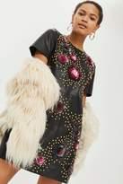 Topshop **Studded Leather Floral Dress