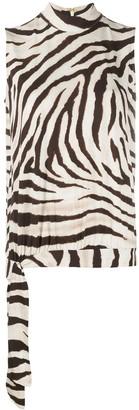 Lauren Ralph Lauren Side Tie Zebra Print Blouse