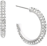 Eliot Danori Earrings, Silver-Tone Micro Pave Crystal Hoop Earrings