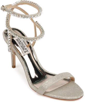 Badgley Mischka Claudette Ankle-Wrap Glitter Cocktail Sandals