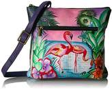 Anuschka Anna Handpainted Leather Medium Cross Body,Tropical Flamingo