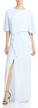 Halston Draped-Back Gown