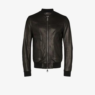 Dolce & Gabbana Logo Plaque Leather Bomber Jacket