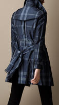 Burberry Short Metallic Check Trench Coat