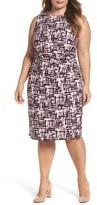 Eliza J Plus Size Women's Print Jersey Sheath Dress