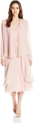 SL Fashions Women's 3 Piece Sequin Lace Dress with Chiffon Jacket