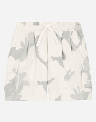 Dolce & Gabbana Oversize Jersey Jogging Shorts With Camouflage Print