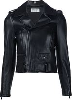 Saint Laurent classic motorcycle jacket - women - Cotton/Lamb Skin/Cupro - 40