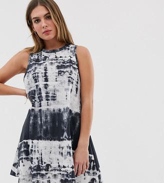 Wednesday's Girl tank swing dress in tie dye-Blue