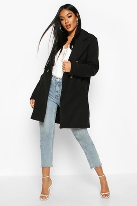 boohoo Double Breasted Back Detail Wool Look Coat