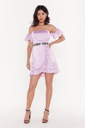 Nasty Gal Womens Satin Frill Tea Dress - Purple - 12