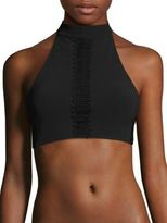 Jonathan Simkhai Lace-Trim Halter Bikini Top
