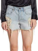 Alexander Wang Romp Distressed Cotton Shorts