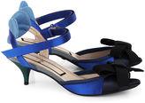 No.21 Cobalt Blue & Navy Bow Kitten Heels