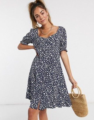 Pimkie button front puff sleeve mini dress in navy floral print