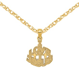 "14K Yellow Gold ""I Love Jesus"" Block Cross Charm with 18-inch Cable Rope Chain by Versil"