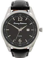 Tommy Bahama Siesta Key Leather Strap Watch, Black