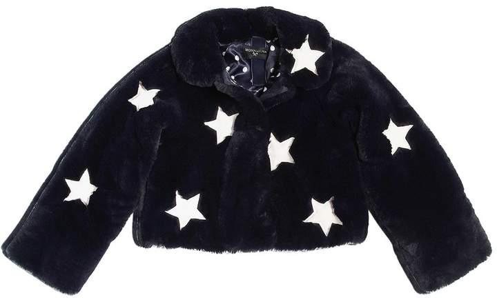 MonnaLisa Stars Patches Faux Fur Jacket