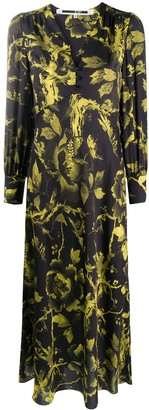 Mcq Swallow Floral Print Maxi Dress