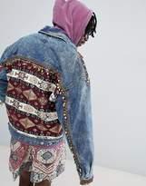 Asos DESIGN festival oversized denim jacket with back print and beading