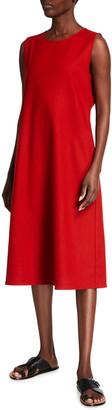 Eileen Fisher V-Neck Wool Flannel Sleeveless Dress