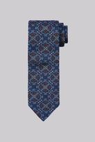 Moss Bros Navy & Orange Medallion Silk Tie