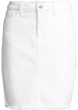 Jen7 Frayed Denim Pencil Skirt