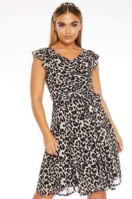 Quiz Brown Leopard Print Frill Dress