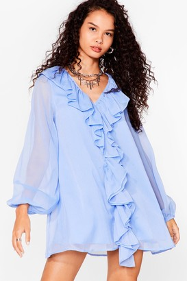 Nasty Gal Womens What Frill It Take Ruffle Mini Dress - Blue - 6, Blue