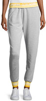 Opening Ceremony Heathered Jersey Elastic-Logo Sweatpants, Gray