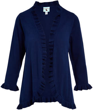 Haley And The Hound Haley and the Hound Women's Blouses - Navy Ruffle-Trim Open Cardigan - Women