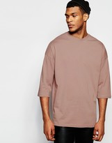 Asos Oversized 3/4 Sleeve T-Shirt In Pink