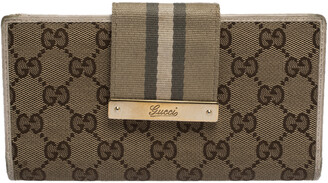Gucci Beige GG Canvas and Leather Web Continental Wallet