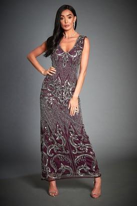 Jywal London Silver Embellished Evening Dress