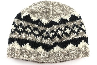 Cool Trade Winds Marl Effect Bobble HAT - Pure Wool with Fleece Lining (Beige)