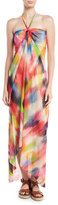 Fuzzi Semisheer Tulle Halter Coverup Dress