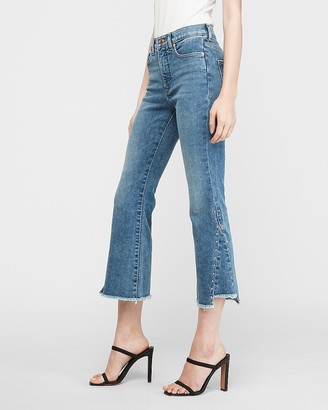 Express High Waisted Studded Cropped Flare Jeans