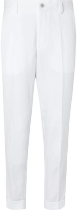 HUGO BOSS Perin Tapered Cotton And Linen-Blend Trousers