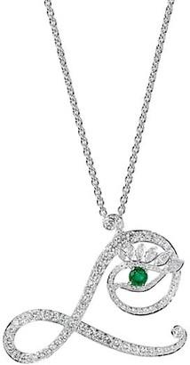 Tabayer Eye 18K White Gold, Diamond Emerald Loyal Pendant Necklace