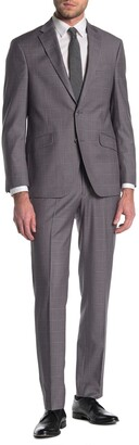 Kenneth Cole Reaction Windowpane Grey Two Button Slim Fit Suit