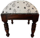 One Kings Lane Vintage White & Black Mud Cloth Stool