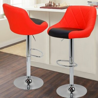 Orren Ellis Marrow PU Leather Counter Adjustable Height Swivel Bar Stool Color: Red and Black