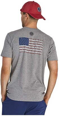 Life is Good Star Spangled Banner Flag Crusher Tee (Heather Gray) Men's Clothing
