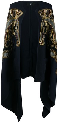 Balmain Embroidered Wool Cape