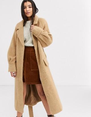 Asos Design DESIGN brushed belted coat in camel-Beige