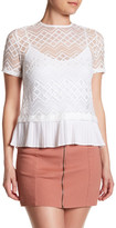 Laundry by Shelli Segal Short Sleeve Lace Pleated Hem Blouse