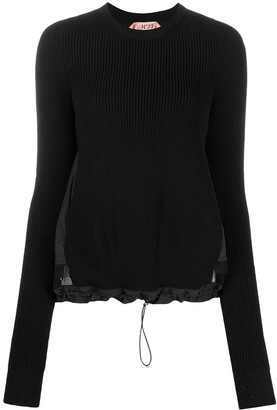 No.21 Ribbed Drawstring Crew Neck Jumper