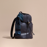 Burberry Leather And Overdyed Canvas Check Backpack
