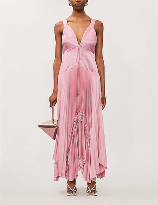 Alexis Bellona asymmetric satin maxi dress